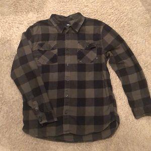 Vans long sleeved plaid button up shirt